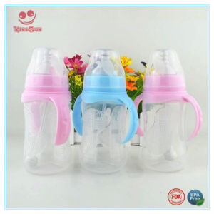 Blue and Pink Wide Neck Plastic Milk Feeding Bottle with Double Handles pictures & photos