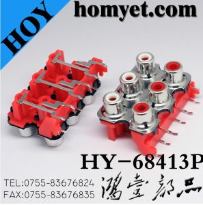 Six Holes Radio RCA Jack /RCA Connector with Silvering in Red (HY-68413P) pictures & photos