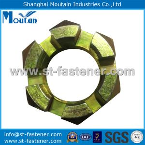 DIN937 Hex Slotted Nuts with Yellow Zinc Plated