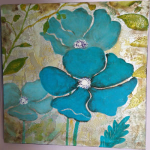 Good-Looking Blue Flower Floral Wall Painting for Decoration (LH-147000) pictures & photos