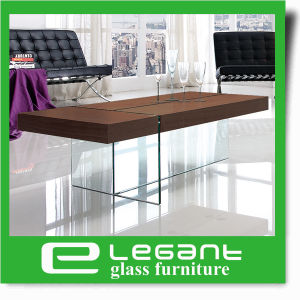 Akiyama Ash Wood Veneer Center Table with Tempered Glass Legs pictures & photos