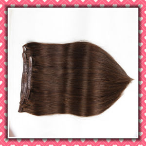 Hot Brown Color Clip-in Human Hair Extensions Silky 16inches pictures & photos