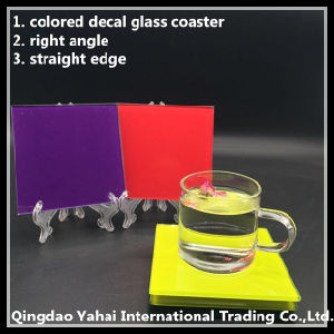 4mm Red Colored Square Glass Coaster pictures & photos