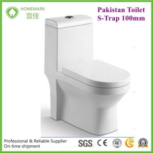 Pakistan Economic S Trap100mm One Piece Ceramic Toilet pictures & photos