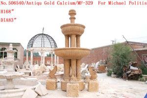 Antique Golden Calcium Stone Sculpture Marble Fountain (SY-378) pictures & photos