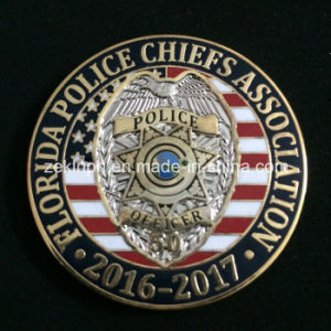 Custom Military Police Officer Metal Badge Coins with Gold Finish pictures & photos
