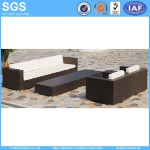 Patio Wicker Furniture Cube Set Rattan Sofa with Long Coffee Table pictures & photos