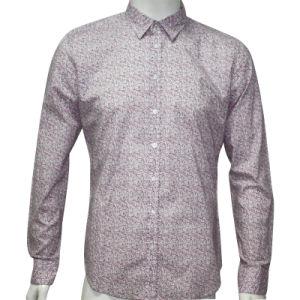 Man′s Simple Printed Poplin Woven Shirt HD0036