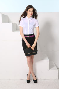 New Design Fashion Women′s Short Sleeve Dress Shirt--Md1a8194 pictures & photos