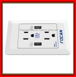 ETL Double American Power Socket Outlets with 2*USB Ports, Wall Plate Socket pictures & photos