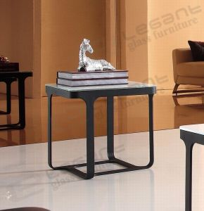 White Color Tempered Glass Side Table, Modern Black Coated Iron Table Ca834 pictures & photos