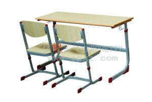 Adjustable Double Wooden Desk & Chair, School Double Furniture Sets (SF-40D) pictures & photos