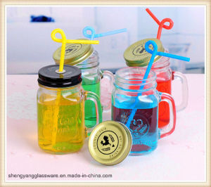 400ml Cold Drinking Glass Cup with Metal Lid pictures & photos