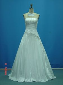 Strapless Beaded Taffeta Real Made Sample Wedding Dresses (WD2029) pictures & photos