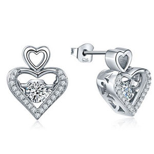 Heart Shape Micro Setting Jewelry 925 Silver Dancing Diamond Earrings pictures & photos