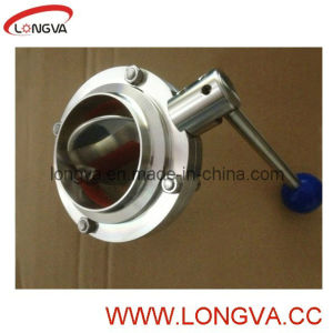 Sanitary Stainless Steel Butt Welded Butterfly Valve pictures & photos