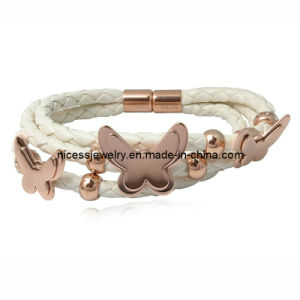 Best Designs Rose Gold Butterfly Stainless Steel Woman Leather Bracelet (AB23)