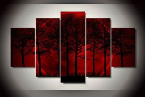 HD Printed Red Moon Sky Painting on Canvas Room Decoration Print Poster Picture Canvas Mc-078 pictures & photos