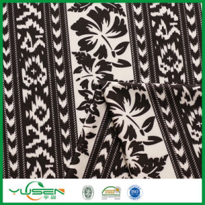 Black&White Leaves Printed Spandex Swimwear Fabric for Women pictures & photos