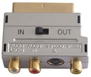Scart Plug to 3RCA Jack with Switch Adapter pictures & photos