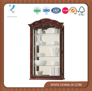 Curio Wall Cabinet 4 Adjustable Shelves Mirrored Back pictures & photos