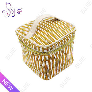 Straw Mat Square Large Capacity Cosmetic Pouch Bag