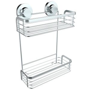 Chrome Plated Bathroom Two-Tier Rectangular Shelf with Suction Cups
