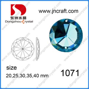 Dz-1071 Flat Back Blue Mirror Round Glass Beads with Holes for Wedding Dress pictures & photos