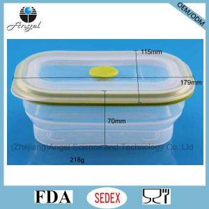 600ml Collapsible Silicone Food Container Tiffin Lunch Box Sfb05 pictures & photos