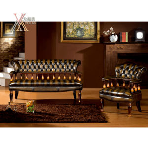 Antique Style Leather Sofa Set (S33) pictures & photos