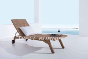 Cheap Patio Wicker Sun Lounger / Plastic Rattan Single Chaise Lounge pictures & photos