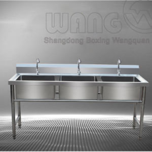 Stainless Steel Three Bowl Sink with Open Base pictures & photos