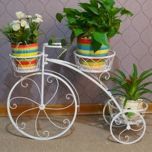 Hot Sale 3 Tier Wrought Iron Bicycle Flower Pot Stand pictures & photos