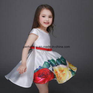 High Quality Printing Flower Girls Dress Short Sleeve Children Wear pictures & photos