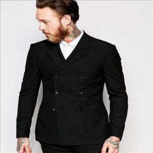2016 Mens Super Skiny Double Breasted Black Suit Jacket pictures & photos