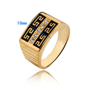 Wholesale Gift Hot Sell Golden Rhinestone Mens Ring pictures & photos