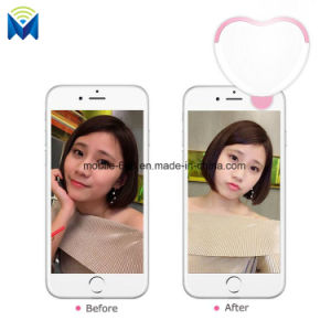 Clip-on Mobile Phone Selfie LED Flash Light Lamp Heart-Shaped Supplement Lamp pictures & photos