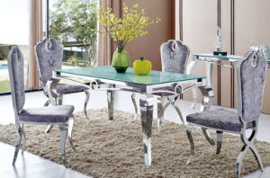 China 2016 Modern Velvet Chairs Clear Glass 6 People Dining Table