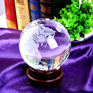 Crystal Globe Ball with Map Sandblasting pictures & photos