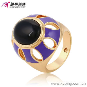 Fashion Fancy Oval Black Stone 18k Gold-Plated Imitation Jewelry Finger Ring-13717 pictures & photos