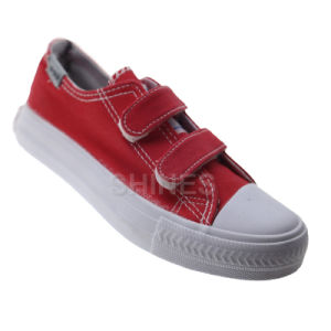 Double Veclro Basic Canvas Vulcanized Shoes pictures & photos