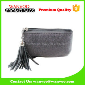 Elegant Grey Fluffy Beauty Cosmetic Handbag with Tassels pictures & photos