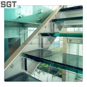 High-End Modern Internal Staircase with Pin Fixed Laminated Glass pictures & photos
