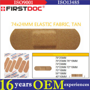 High Quality OEM 74*24mm Elastic Fabric Material Tan Color Adhesive Bandages pictures & photos