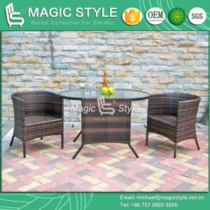 Rattan Dining Set Patio Wicker Coffee Table Cafe Wicker Coffee Chair (Magic Style) pictures & photos