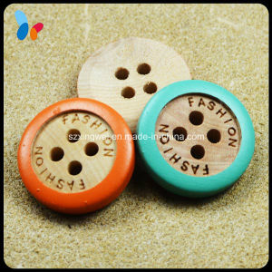 Custom Laser Engraved Nature Four Holes Wooden Sew on Button pictures & photos
