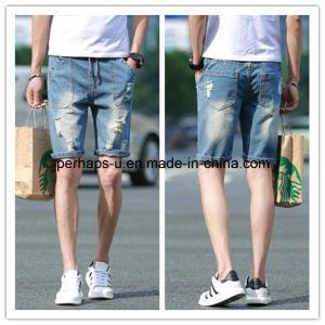 High Qulaity Wild Clothes Casual Hole Mens Denim Shorts pictures & photos