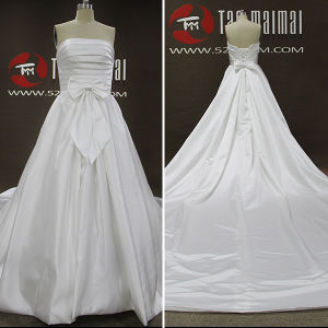 Pleated Satin Detachable Train A-Line Wedding Dresses (TM-AL023)