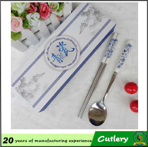 Blue & White Porcelain Gift Box Stainless Steel Cutlery Set pictures & photos