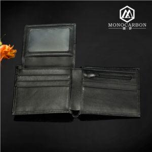 Wholesale Luxury Slim Smart Carbon Fiber Genuine Leather Wallet for Men pictures & photos